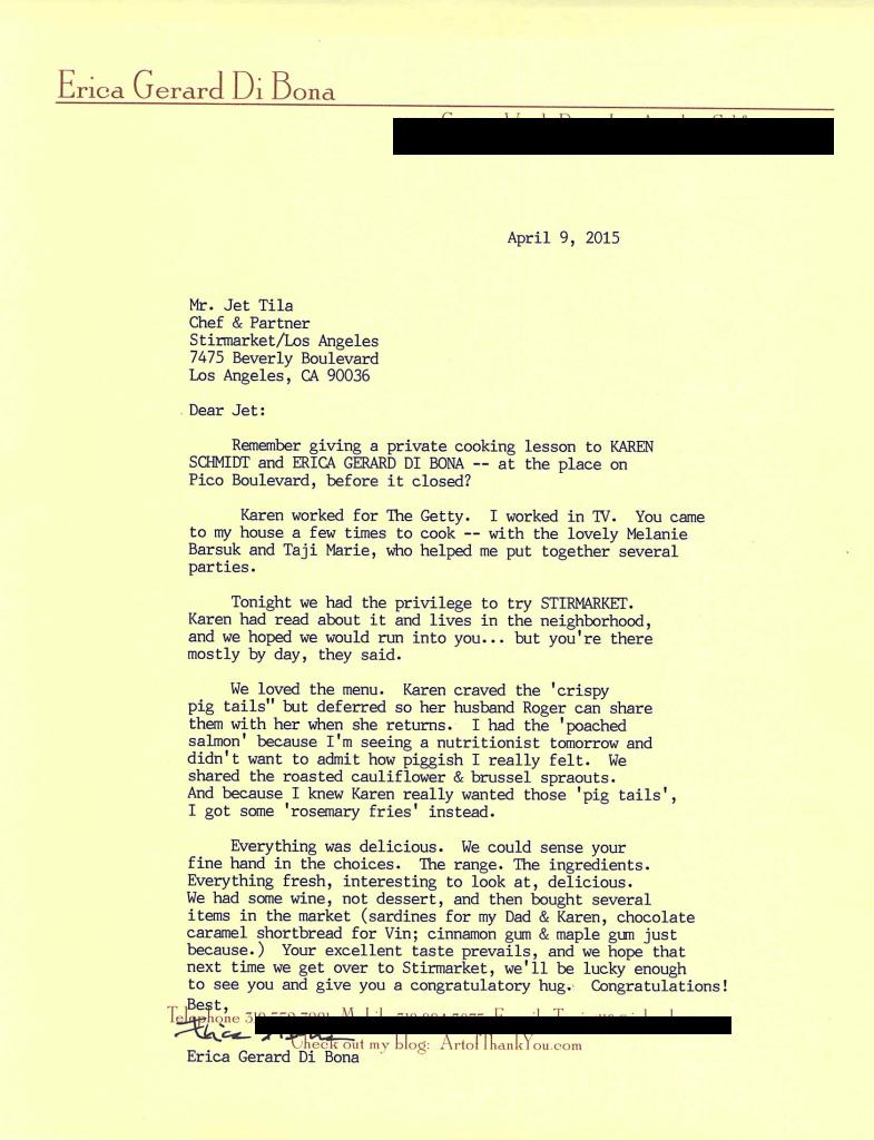 Letter to Jet Tila.