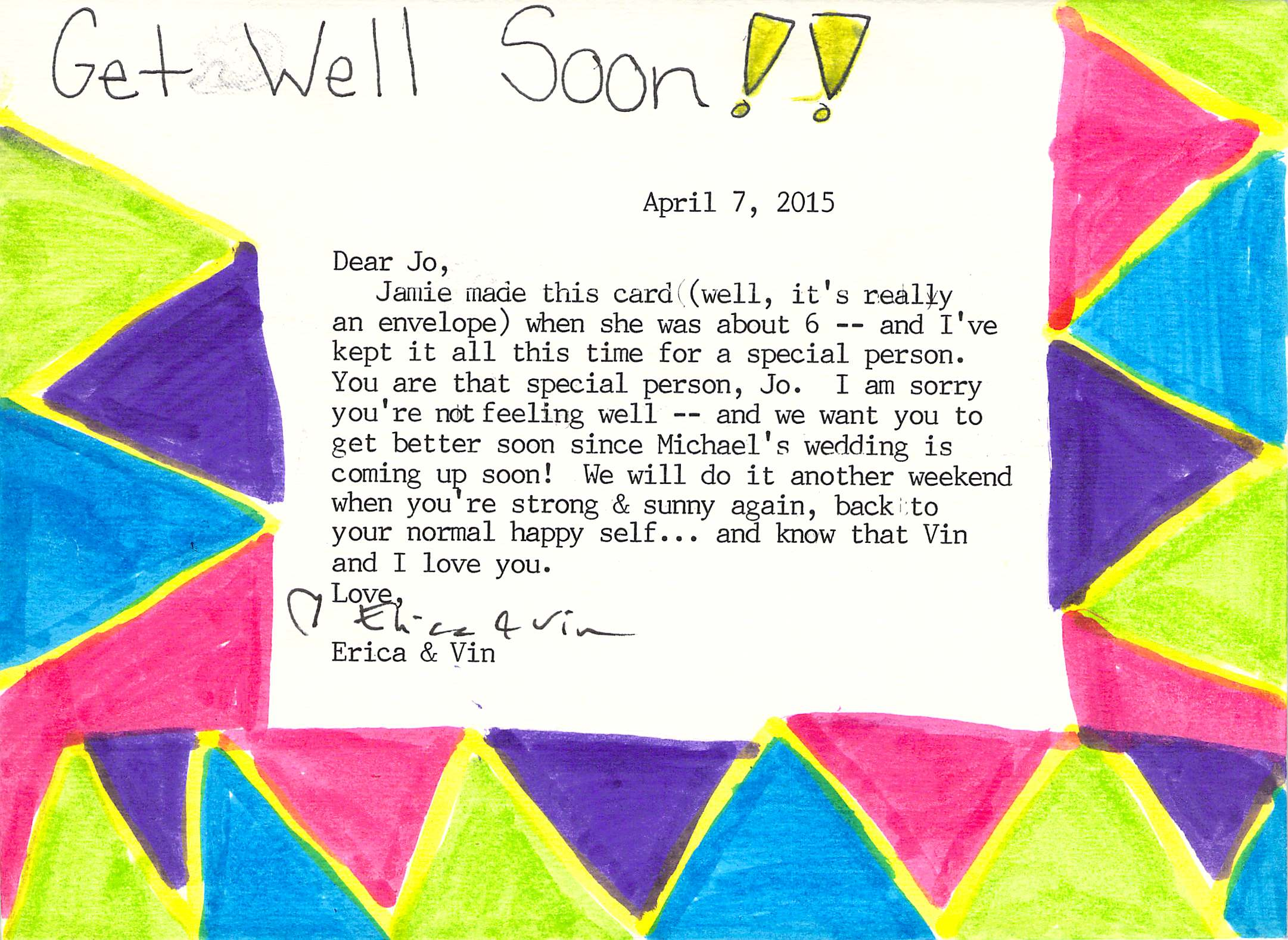 """A 20 year old """"Get Well"""" card Art of Thank You"""