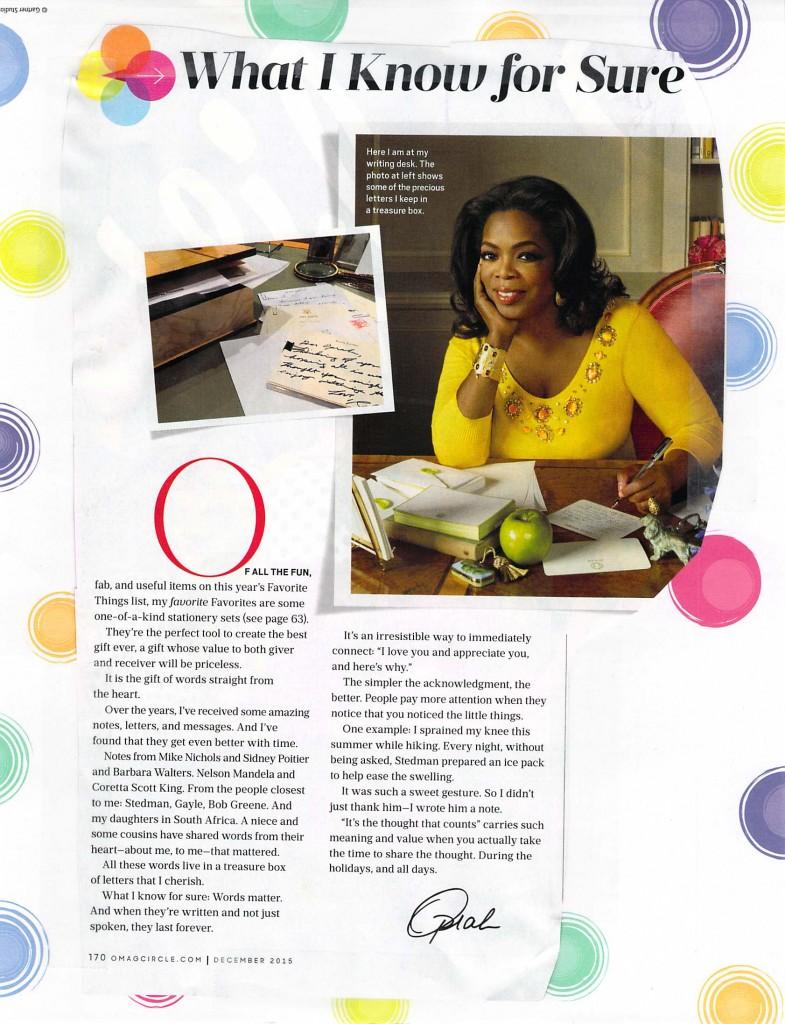 Oprah writes.